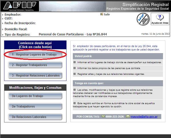 Registro Servicio Domestico 1